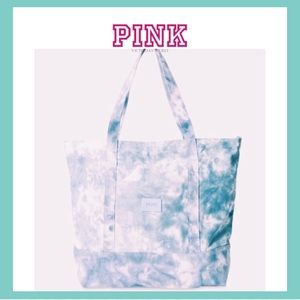 VS PINK Tie Dye Blue & White Canvas Zipper Tote